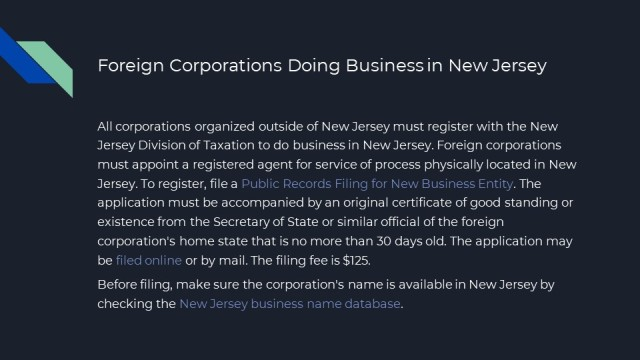 Formation of a Corporation in NJ 11