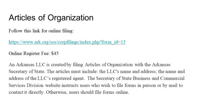 How to Form an LLC in Arkansas 3